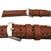 Napoli Heavy Saddle Stitched Light Brown Leather Watch Strap